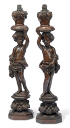 A PAIR OF FRENCH WALNUT FIGURE