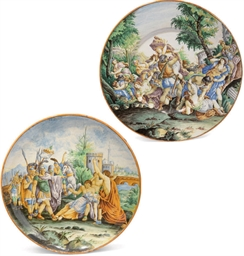 TWO ITALIAN MAIOLICA CHARGERS