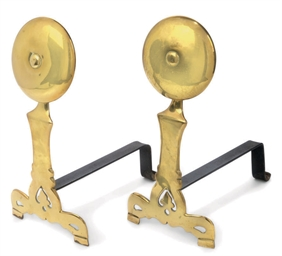 A PAIR OF ENGLISH BRASS ANDIRO