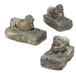 THREE COMPOSITE-STONE LION SUP