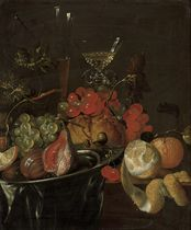 Figs and grapes on a pewter platter, two glass roemers, a partly peeled lemon and an orange on a draped wooden ledge