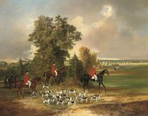 A hunt in the grounds of the Château of Lysa Nad Labem, Bohemia with Prince Louis Rohan Guemmenee-Rochefort (b. 1833) at the head of the hounds