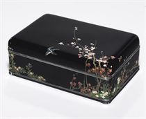 A small cloisonné enamel box and cover