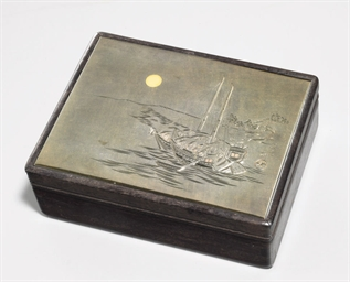 A silver-mounted wood box