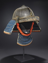 A Suji-kabuto helmet and hanbo