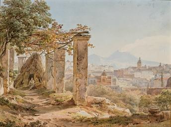 Vue de Naples avec le Vésuve e
