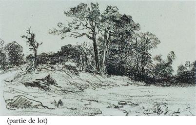 Sentier en bordure de bois; et