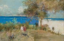 Vue de l'île d'Ischia avec au premier plan les enfants de l'artiste
