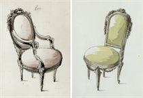 Un fauteuil et une chaise à la reine d'époque Louis XVI