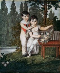 Une fillette tenant une corbei