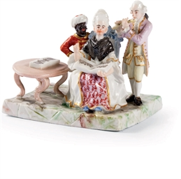 GROUPE MINIATURE EN PORCELAINE