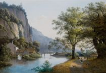 Un paysage fluvial avec des falaises, un moulin, un bourg au fond, deux hommes et un chien sur un chemin