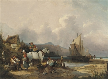 Fisherfolk on the beach, unloa