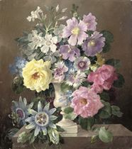 Passion flowers, roses, convolvulus and other flowers in a vase on a ledge