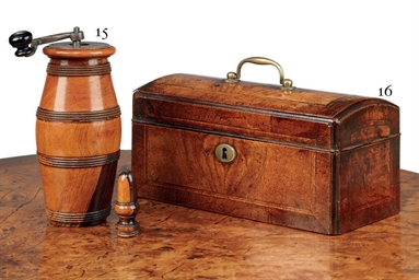 A GEORGE II WALNUT TEA-CHEST