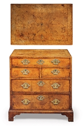 A GEORGE II BURR-WALNUT WRITIN