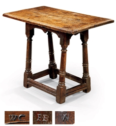A CHARLES II OAK JOINED STOOL
