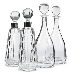 TWO PAIRS OF CLEAR GLASS DECAN