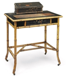A VICTORIAN LACQUER AND BAMBOO
