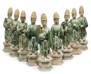 A GROUP OF NINE CHINESE POTTER