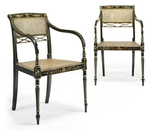 A PAIR OF LATE GEORGE III EBON