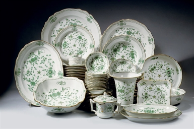 A Meissen porcelain green and