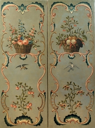 A pair of Dutch polychrome-pai
