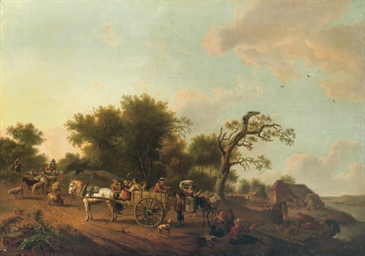 A landscape with peasants trav