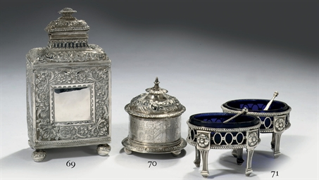 A Dutch silver tea-caddy and c