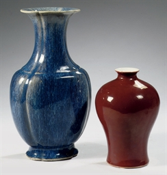 Two Chinese monochrome-glazed