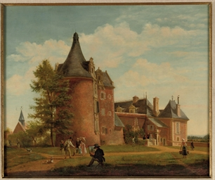 A castle in a landscape with h