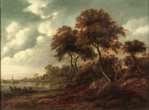 A wooded river landscape with a cottage on the bank and fishermen on the water