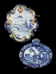 A Dutch Delft oval blue and wh