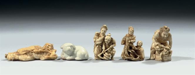Four Japanese ivory netsuke an
