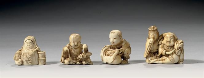 Four Japanese ivory netsuke