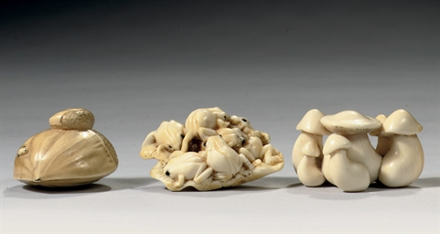 Three Japanese ivory netsuke