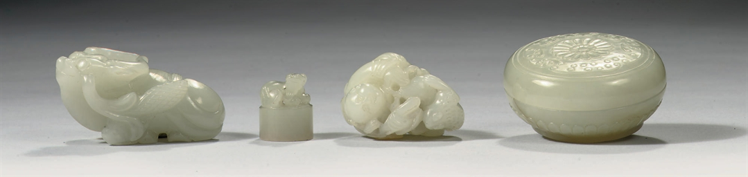 Two Chinese jade carvings, a b