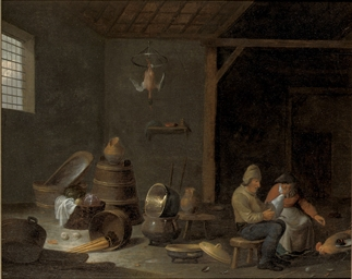 A barn interior with two peasa