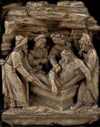 A RECTANGULAR ALABASTER RELIEF