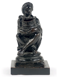 A BRONZE FIGURE OF A SEATED BO
