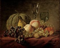 A still life with fruits and glasses on a table