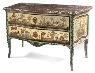 A LOUIS XV POLYCHROME-PAINTED