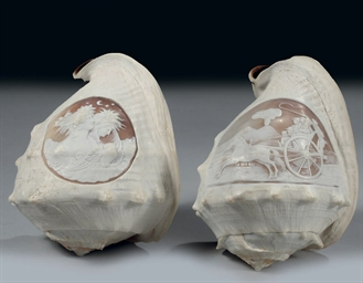 TWO ITALIAN CAMEO SHELLS