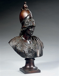 A BRONZE BUST OF 'ATHENA GIUST
