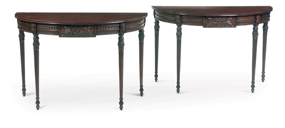 A PAIR OF IRISH MAHOGANY CONSO