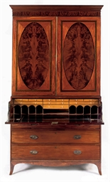 A REGENCY MAHOGANY AND MAPLE B