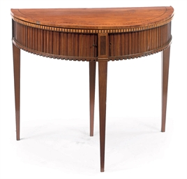 A DUTCH MAHOGANY, SATINWOOD AN