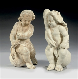 A PAIR OF WHITE PAINTED CARVED