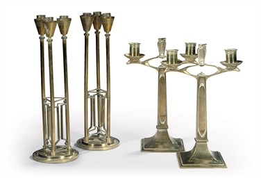 Two pairs of Dutch brass cande