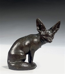 A BRONZE FIGURE OF A FENNEC FO